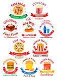 Fast food cafe or pizzeria badges design Royalty Free Stock Images