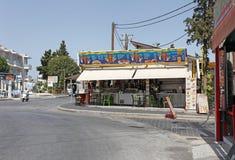 Fast food cafe restaurant in Faliraki. Rhodes island, Greece Stock Photos