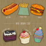 Fast food and cakes icons for restaurant menu. hand drawn illustration. vector. Stock Photos