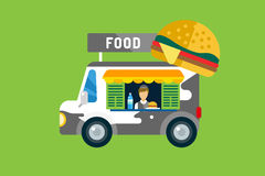 Fast food car icon. Meat grilled product, hot dogs. Hamburger, auto transport, transportation, mobile restaurant, fast food, lunch time. Design elements.   on Stock Photography
