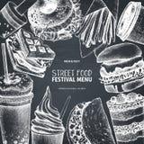 Street food festival menu. Vintage sketch collection. Fast food set. Engraved style design. Vector drink drawing on chalkboard stock illustration