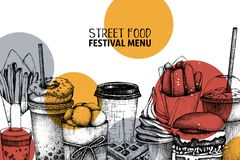 Street food festival menu with vintage illustrations. Fast food engraved style design with vector drawing for logo, icon, label, p vector illustration