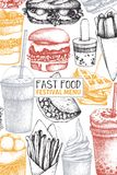 Vintage design for fast food restaurant. Vector street food menu template with hand drawn burger, milkshake, ice cream, fries, cof. Fee, sandwiches sketch stock illustration