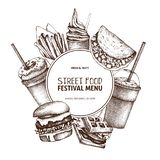 Fast food art. Engraved style design with vector drawing for logo, icon, label, packaging, poster. Street food festival menu with. Vintage illustrations vector illustration