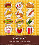 Fast food card. Drawing stock illustration