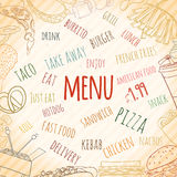 Fast food card. Hand drawn background of doodle style fast food elements of burger, french-fries, sandwich, hotdog, pizza, nachos, drink, burrito. can be used royalty free illustration