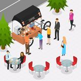 Fast Food Cart on The Street Isometric View. Vector. Fast Food Cart on The Street with People Isometric View Coffee Shop Mobile Service . Vector illustration of vector illustration
