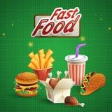 Fast Food Cartoon Background Royalty Free Stock Photo