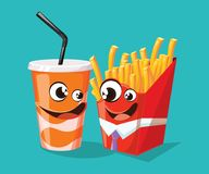 Fast food cartoon characters inspired by french fries and soda. Vector illustration Royalty Free Stock Photography