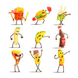 Fast Food Cartoon Characters Set Royalty Free Stock Image
