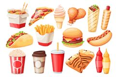 Free Fast Food Cartoon Icon Stock Image - 213960931