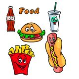 Fast food cartoon illustration Stock Photos