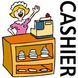 Fast Food Cashier Worker. An image of a waitress working at the cashier counter Royalty Free Stock Photo