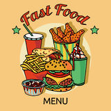 Fast food chain menu poster Royalty Free Stock Photos