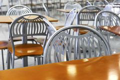 Fast food chairs and tables Stock Photo