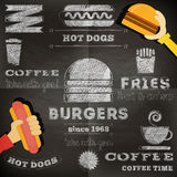 Fast food chalkboard Stock Photography