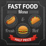 Fast Food Chalkboard Royalty Free Stock Photo