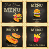 Fast food chalkboard Set Royalty Free Stock Photography