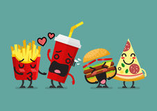 Fast food characters friendship Stock Image