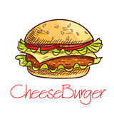 Fast food cheeseburger sketch for cafe menu design Royalty Free Stock Images
