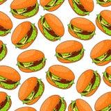 Fast food cheeseburgers seamlesss pattern Stock Photo