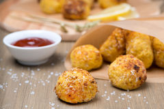 Fast food - chicken meatballs with tomato sauce Royalty Free Stock Images