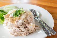 Fast Food Chicken rice steam of Thailand. stock photos