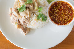 Fast Food Chicken rice steam of Thailand. Royalty Free Stock Photo