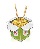 Fast food. Chinese noodles in take out container Royalty Free Stock Photography