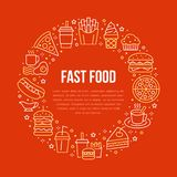 Fast food circle illustration with flat line icons. Thin vector signs for restaurant menu poster - burger, french fries. Soda, cheesecake, coffee, pizza, hot vector illustration