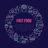 Fast food circle illustration with flat line icons. Thin vector signs for restaurant menu poster - burger, french fries. Soda, salad, cheesecake, coffee, ice stock illustration
