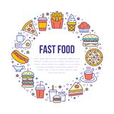 Fast food circle illustration with flat line icons. Thin vector signs for restaurant menu poster - burger, french fries. Soda, cheesecake, coffee, pizza, hot royalty free illustration