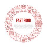 Fast food circle illustration with flat line icons. Thin vector signs for restaurant menu poster - burger, french fries. Soda, cheesecake, coffee, pizza, hot stock illustration
