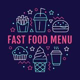 Fast food circle illustration with flat line icons. Thin vector signs for restaurant menu poster - burger, french fries. Soda, muffin, coffee, ice cream. Junk royalty free illustration