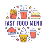 Fast food circle illustration with flat line icons. Thin vector signs for restaurant menu poster - burger, french fries. Soda, muffin, coffee, ice cream royalty free illustration