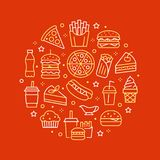 Fast food circle illustration with flat line icons. Thin vector signs for restaurant menu poster - burger, french fries. Soda, pizza, hot dog, cheesecake stock illustration