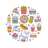 Fast food circle illustration with flat line icons. Thin vector signs for restaurant menu poster - burger, french fries. Soda, pizza, hot dog, cheesecake royalty free illustration