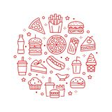 Fast food circle illustration with flat line icons. Thin vector signs for restaurant menu poster - burger, french fries. Soda, pizza, hot dog, cheesecake vector illustration