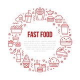 Fast food circle illustration with flat line icons. Thin vector signs for restaurant menu poster - burger, french fries. Soda, salad, cheesecake, coffee, ice royalty free illustration