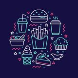 Fast food circle illustration with flat line icons. Thin vector signs for restaurant menu poster - burger, french fries. Soda, salad, cheesecake, coffee, ice vector illustration
