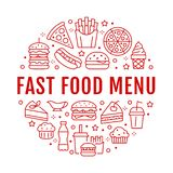 Fast food circle illustration with flat line icons. Thin vector signs for restaurant menu poster - burger, pizza, hot. Dog, french fries, soda, muffin, coffee stock illustration