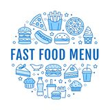Fast food circle illustration with flat line icons. Thin vector signs for restaurant menu poster - burger, pizza, hot. Dog, french fries, soda, muffin, coffee vector illustration
