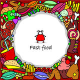 Fast food in a circle Royalty Free Stock Photo
