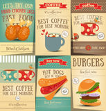 Fast Food and Coffee Posters Set Royalty Free Stock Photo