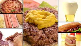 Fast food collage. Collage including raw burgers, cooked burgers and hamburger sandwich making