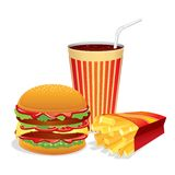 Fast Food Collage. Vector Illustration Stock Image