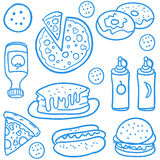 Fast food collection of doodles Stock Photos
