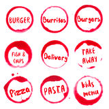Fast food collection of round watercolor stains. Fast food collection of round watercolor stains with burger, burritos, fish & chips, delivery, take away, pizza Royalty Free Stock Photo