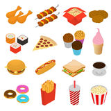 Fast Food Color Icon Set Isometric View. Vector Stock Photo