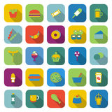 Fast food color icons with long shadow. Stock vector Stock Photography
